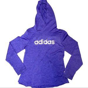 EUC Adidas Girls 6X Climalite Hooded Purple Ruffle